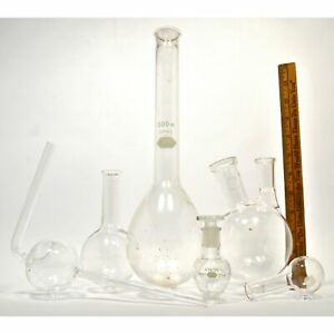 Mixed Pyrex Kimax Lab Glass Lot Of 6 Round bottom Flasks Pear 2 neck Florence