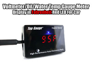 Top Gauge Car Digital Fahrenheit Voltmeter oil water Temp Gauge Meter Red Led