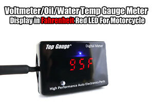 Top Gauge Motorcycle Digital Fahrenheit Voltmeter oil water Temp Gauge Meter Red