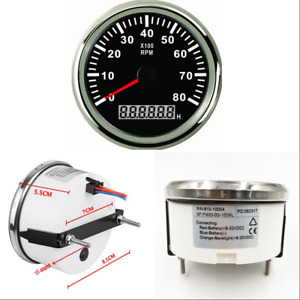Tachometer Rpm Gauge With Hour Meter For Car Truck Boat Yacht 0 8000rpm 85mm