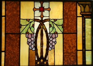 Antique Vintage C1880s Stained Glass Window Grapes Excellent Condition