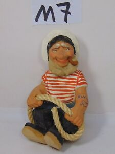 Henning Wood Carved Figure Sailor Navy Guy W Pipe Elvira On Arm Rare 6 Tall