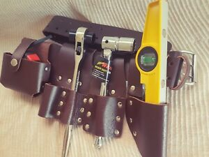 Scaffolding Brown Leather Tool Belt Heavy Duty 4 Pcs Tools Set Ratchet 19 21