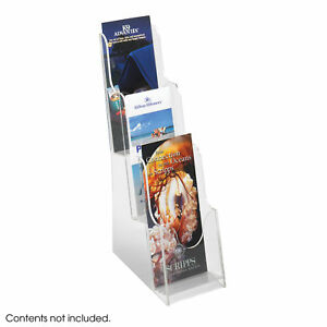 Office Accessories Clear Magazine Racks Acrylic 3 Pocket Pamphlet Display