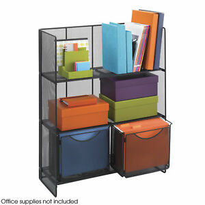 Office Accessories Black Mesh Steel Wire Onyx Fold up Shelving 3 Shelf Bookcase