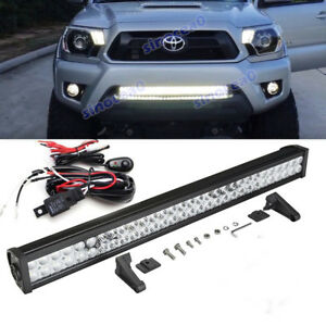 Fit 05 15 Toyota Tacoma Bumper 30 inch 180w Led Light Bar Offroad Driving Lamp