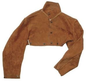 Welding Flame Resistant Cape Sleeve Brown Leather Large