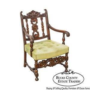 1920s Jacobean Style Solid Mahogany Carved Arm Chair Possibly Kittinger