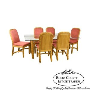 Braxton Culler Wicker Glass Top Table 6 Chairs Dining Set