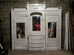 Antique Carved Walnut Closet Front Built In Armoire 111 X 110 Salvage