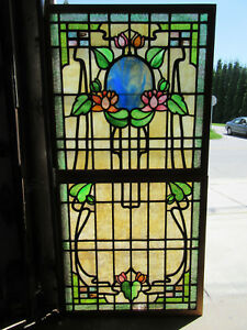 Antique Stained Glass Windows Top Bottom Flowers Architectural Salvage