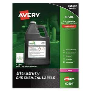 Avery Easy Peel Ultraduty Ghs Chemical Labels Laser 4 X 4 Whi 072782605049