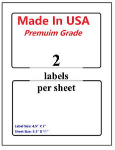 Premium Shipping Blank Labels 7 X 4 5 made In Usa self Adhesive 8 5 X 11 round