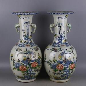 16 8 Collect Old China Blue White Doucai Porcelain Flower Vase Bottle Pot Pair
