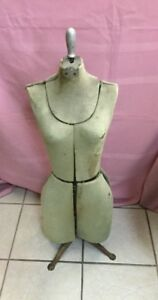 Vintage Adjustable Dress Form Sewing Mannequin With Metal Claw Feet Size 0