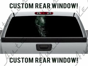 Alien Space Head Galaxy Resurrection Truck Scary Aliens Perforated Window Decal