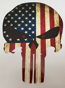 American Flag Distressed Punisher Vinyl Decal Sticker Free Shipping