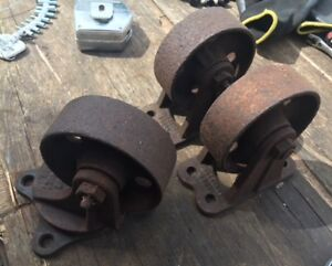 Antique Nutting Casters Wheels Industrial Factory Railroad Cart