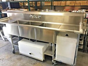 3 Comparment Portable Concession Mobile Sink With Drain Boards 91 Long