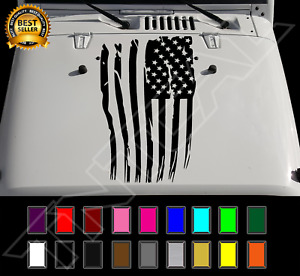 Distressed Usa Flag Jeep Wrangler Hood Decal Vinyl Sticker Fits Any Hood