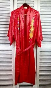 Golden Dragon Embroidered Chinese Size M Red 100 Silk Kimono Robe