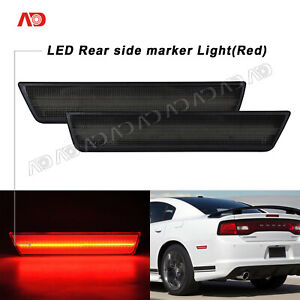 For 2011 2014 Dodge Charger Challenger Led Side Marker Light Smoked Red Rear 2x