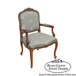 Ethan Allen French Louis Xv Style Carved Fauteuil Arm Chair