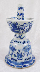 Antique Chinese Blue And White Ceramic Candle Holder Dragon Design 6 1 4in Tall