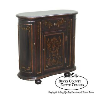 Hooker Seven Seas Collection Black Painted Kidney Shape Console Cabinet