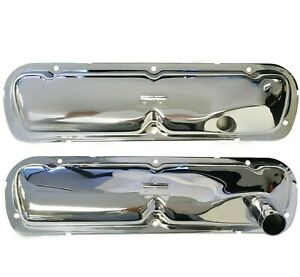 1965 66 Mustang Chromed Steel Valve Covers Pair 289 V8 Hipo Engines m3588c