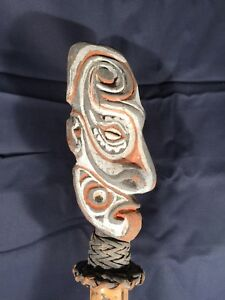 Papua New Guinea Bamboo Flute With Carved Head Flute Stopper Mask