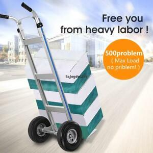 New Aluminum Alloy Hand Truck Weight Capacity 500 Lbs 10 Rubber Wheels Us