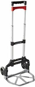 Magna Cart Personal 150 Lb Capacity Aluminum Folding Hand Truck Black red Drum
