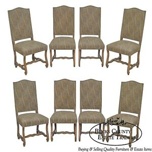 French Louis Xiii Os De Mouton Style Custom Upholstered Set Of 8 Dining Chairs