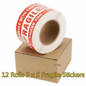 6000 Pcs 3x5 Fragile Stickers Handle With Care Thank You Shipping Mailing Labels