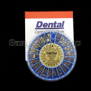 10 Boxes Nordin Dental Assorted Conical Gold Plated Screw Posts 120 Post box