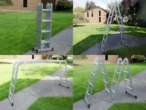 15 5ft Step Platform Muli Purpose Aluminum Folding Scaffold Ladder Kit Silver