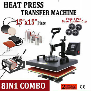 8in1 Heat Press Machine For T shirts 15 x15 Combo Kit Sublimation Swing Away