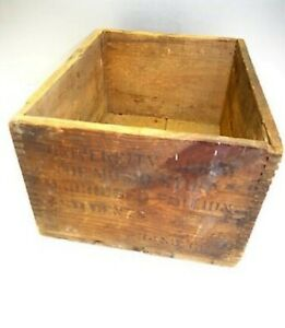 Antique Brown Wood Wooden Finger Joint University Music Textbook Shipping Crate