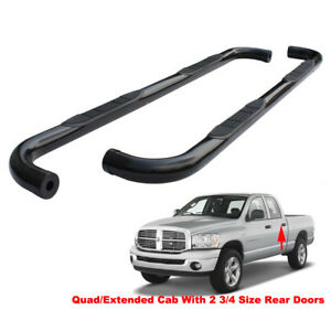 3 Black Running Boards For 09 18 Dodge Ram 1500 Quad ext Cab Side Step Nerf Bar