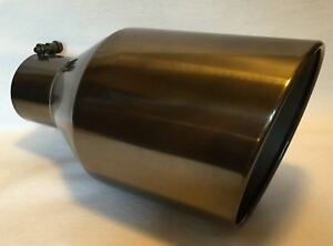 4 Inlet 8 Outlet 15 Long Black Chrome Diesel Exhaust Tip