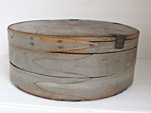 Antique Painted Round 3 Finger Cheese Pantry Box Earliest Best 17 X 6 1 2