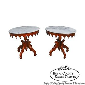 Victorian Style Pair Of Solid Mahogany Oval Marble Top Side Tables