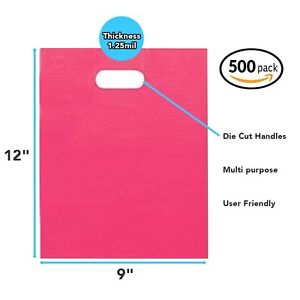 500 Pack 9 X 12 With 1 25 Mil Thickness Pink Merchandise Plastic Glossy Bags