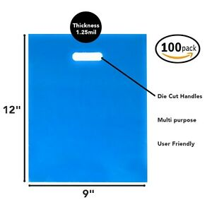 100 Pack 9 X 12 With 1 25 Mil Thick Blue Merchandise Plastic Shopping Bags