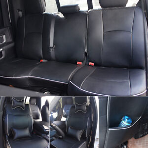 Car Seat Cover Leather Front Rear Full Set For Dodge Ram1500 2500 2009 2017