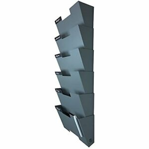 Gray Wall Mount Hanging File Holder Organizer 6 Pack Durable Steel Rack Solid