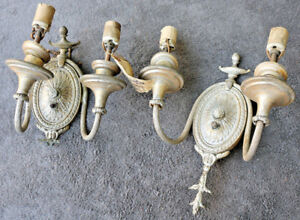 Pair Vintage Antique Lamp Light Old Wall Fixture Sconce Ornate Parts Embassy