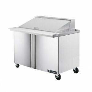 Titan Timu48 18 Mega Top Sandwich Prep Tables 2 Door 18 Pans 48 Inch