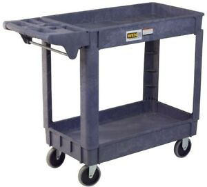 Wen Utility Service Cart Heavy Duty Two Shelves 500 Lb Capacity Easy Clean New